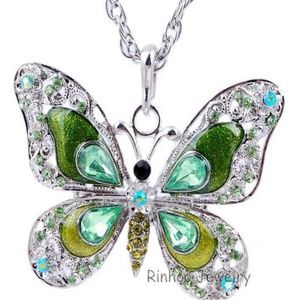 Green Butterfly Necklace- NEW -26 inch Chain